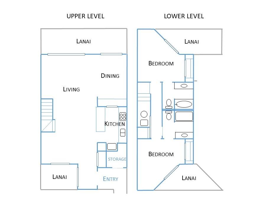 Floor Plan for Nihi Kai 203 Poipu Poolside - Ocean Views, w/AC