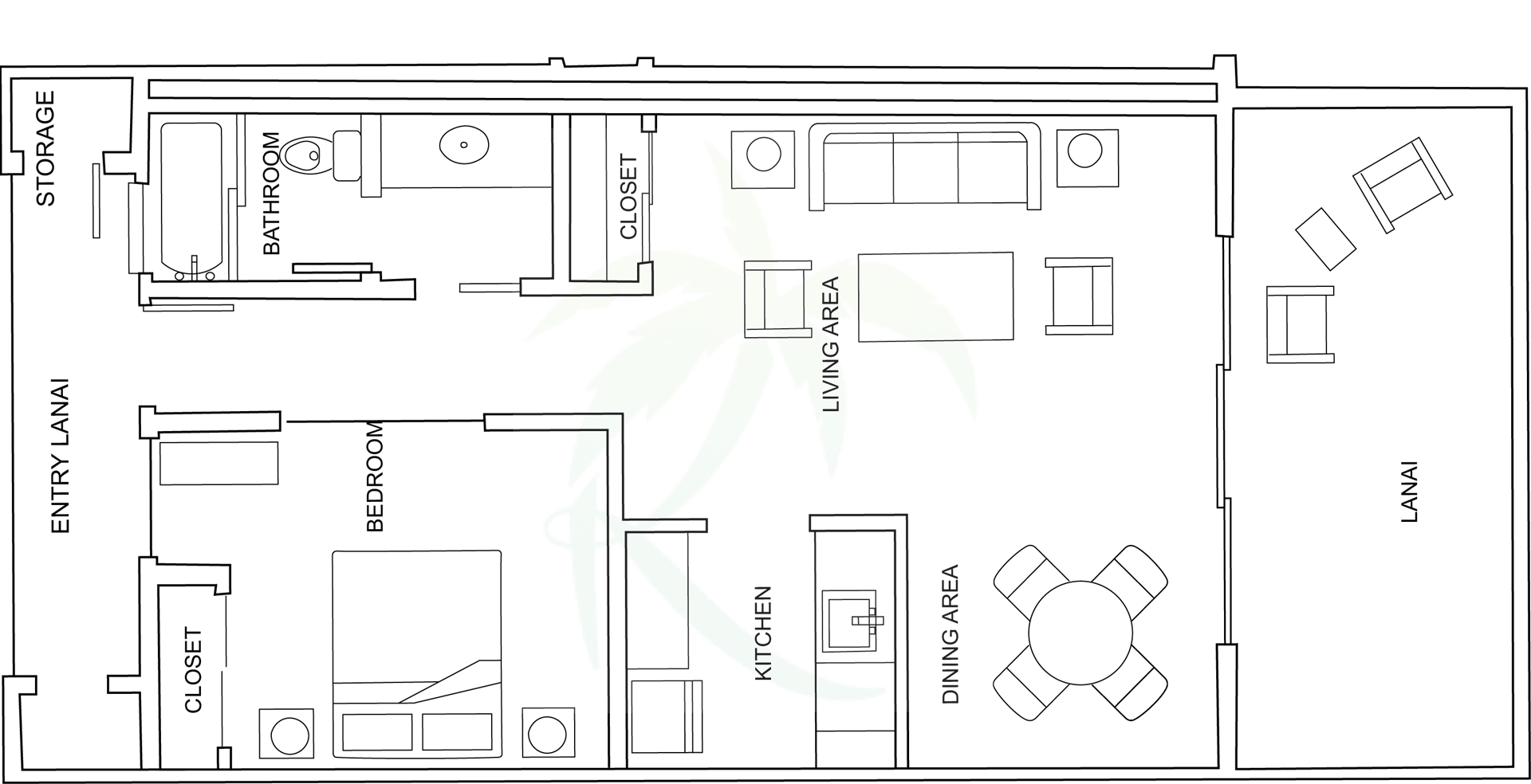 Floor Plan for Kiahuna 323 Sweet Leilani - Garden Deluxe View overlooking Moir Cactus Garden