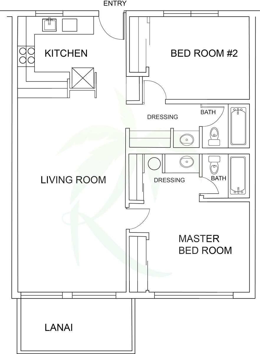 Floor Plan for Poipu Shores 102A Shorebreak Lanai, Ground Floor Unit, w/AC