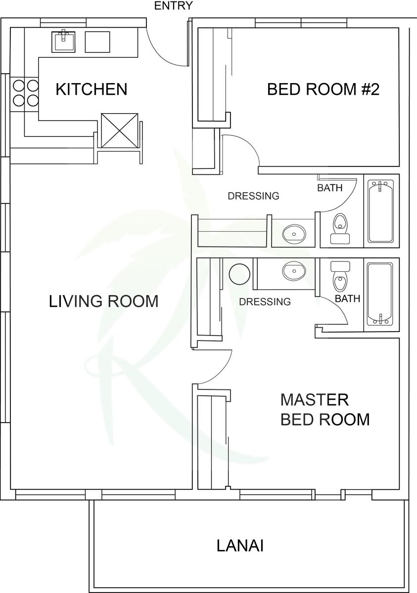 Floor Plan for Poipu Shores 207A Oceanfront Sanctuary, Corner Unit, w/AC